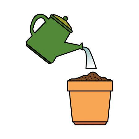 Illustration pour garden sprinkler with plant pot vector illustration design - image libre de droit