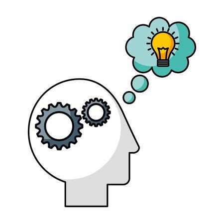 Illustration pour head brain gears thinking creativity idea vector illustration - image libre de droit