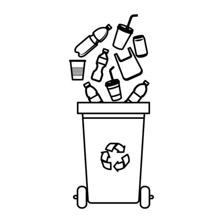 Illustration pour recycle waste with plastic products vector illustration design - image libre de droit