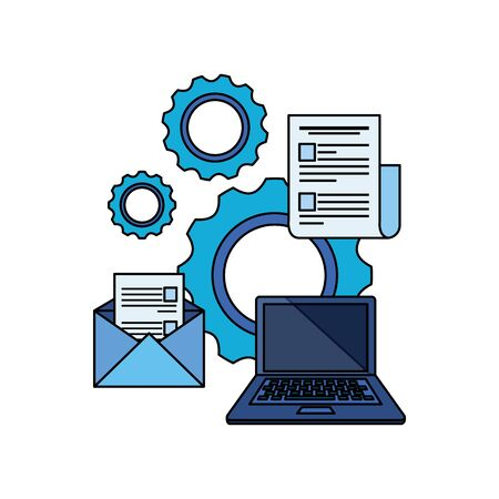 paper document file with gears machine vector illustration design