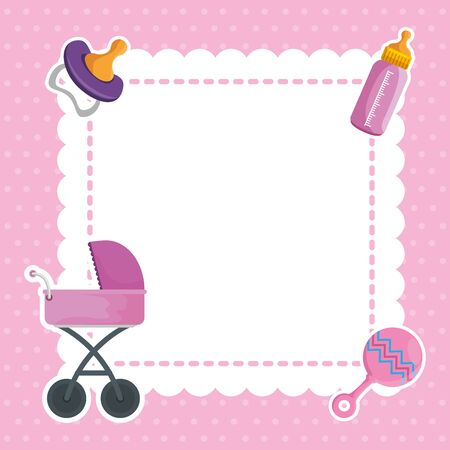 Illustration for postcard with baby shower set icons vector illustration design - Royalty Free Image