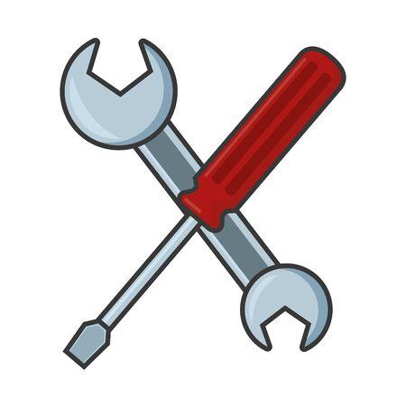 Illustration pour crossed screwdriver and spanner tools vector illustration - image libre de droit
