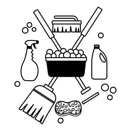 Illustration pour washing bucket broom mop sponge brush spring cleaning tools - image libre de droit
