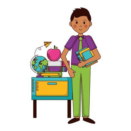 Ilustración de man with school globe book desk apple teachers day card vector illustration - Imagen libre de derechos