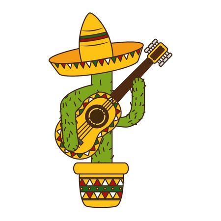 Ilustración de cactus with hat and guitar mexico cinco de mayo vector illustration - Imagen libre de derechos
