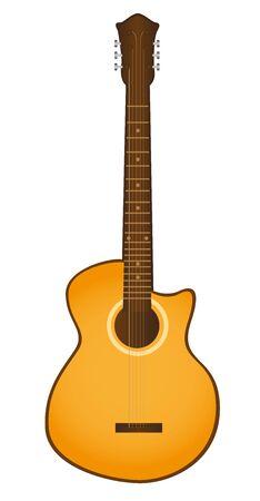 Illustration pour orange guitar isolated over white background. vector - image libre de droit