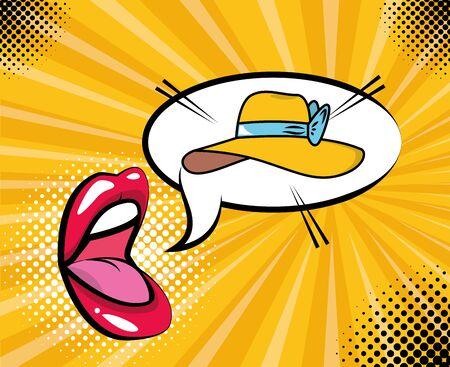 Ilustración de mouth and female hat pop art elements vector illustration - Imagen libre de derechos