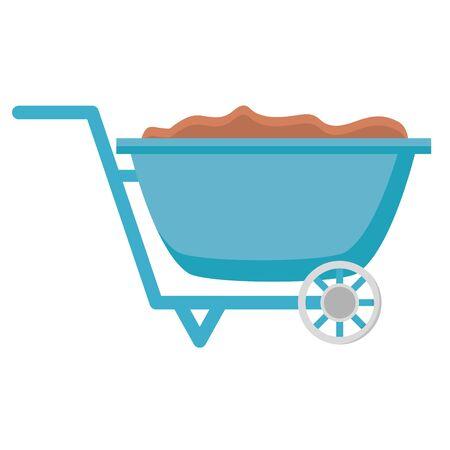 Illustration for wheelbarrow with soil tools decoration gardening flat design vector illustration - Royalty Free Image