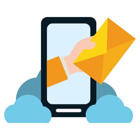 Illustration pour hand with envelope smartphone cloud computing send email vector illustration - image libre de droit