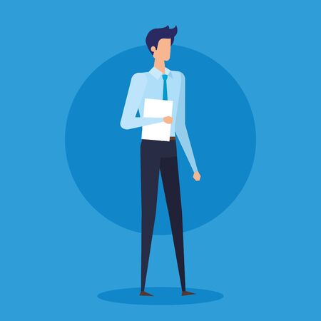 Illustration pour professional businessman with elegant clothes and documents over blue background, vector illustration - image libre de droit