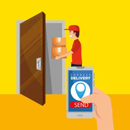 Illustration pour man with boxes packages in the door and hand with smartphone to delivery service vector illustration - image libre de droit