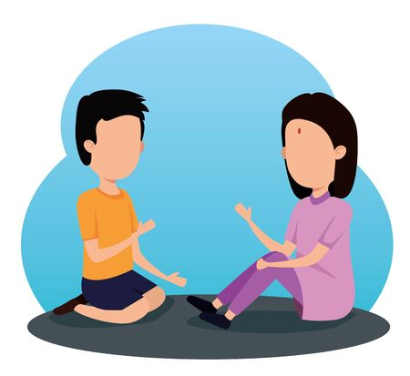 Illustration for boy and girl siblings traditional event to raksha bandhan, vector illustration - Royalty Free Image