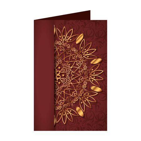 Ilustración de postcard with golden mandala victorian style vector illustartion design - Imagen libre de derechos
