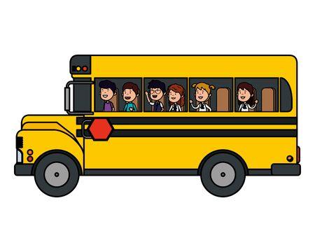 Illustration for school bus transport with group of kids vector illustration design - Royalty Free Image