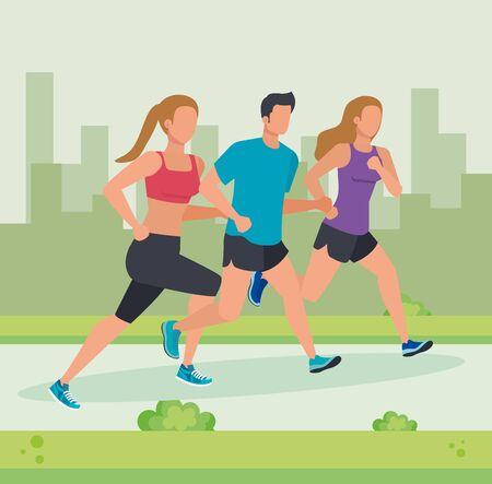 Ilustración de women and man running activity and practice sport with bushes plants, vector illustration - Imagen libre de derechos
