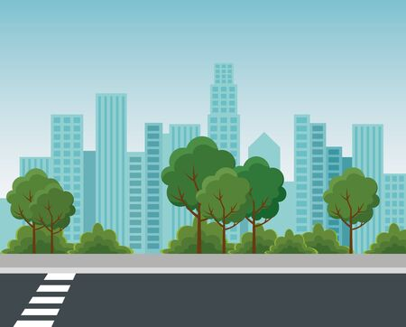 Illustration for park with trees and bushes plants with building cityscape to urban relaxation vector illustration - Royalty Free Image
