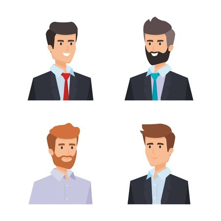 Illustration pour set professionalbusinessman with shirt and hairstyle vector illustration - image libre de droit