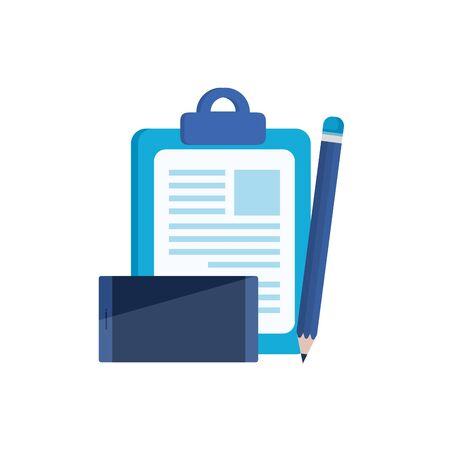 Photo pour checklist clipboard with smartphone device vector illustration design - image libre de droit