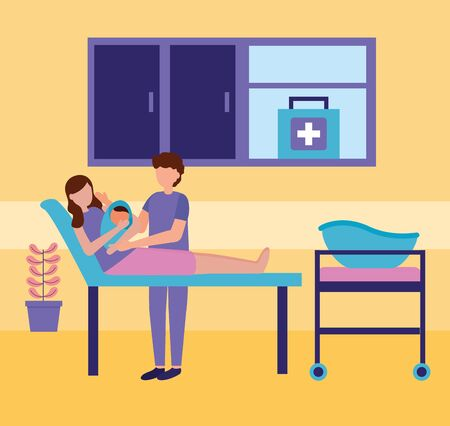Illustration for mom with baby in clinic bed father pregnancy and maternity scene flat vector illustration - Royalty Free Image