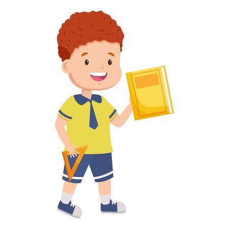 Ilustración de boy student with book back to school vector illustration - Imagen libre de derechos