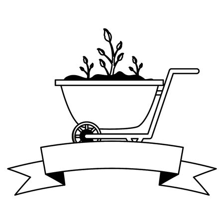 Illustration for wheelbarrow plants decoration gardening flat design vector illustration - Royalty Free Image