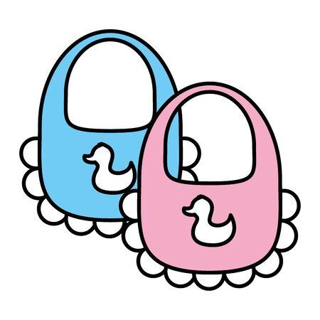 Ilustración de baby bibs on white background vector illustration - Imagen libre de derechos
