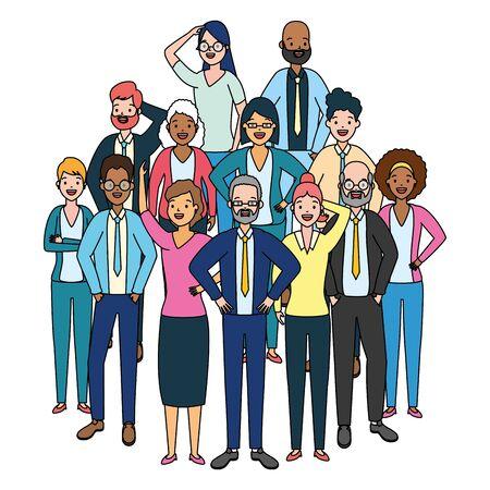 Illustration pour people group characters diversity on white background vector illustration - image libre de droit