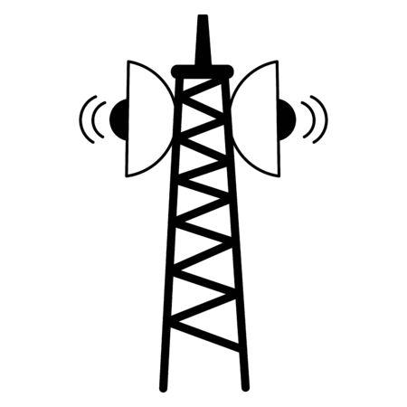 Illustration pour antenna transmission signal on white background vector illustration - image libre de droit