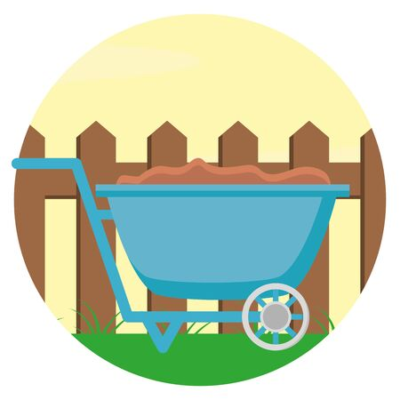 Illustration for wheelbarrow with soil wooden fence gardening flat design vector illustration - Royalty Free Image