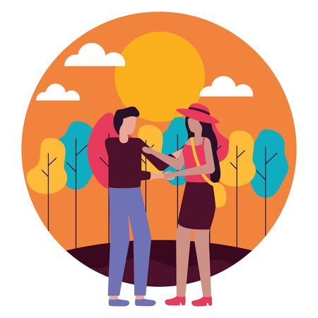 Illustration for couple romantic love outdoors flat design vector illustration - Royalty Free Image