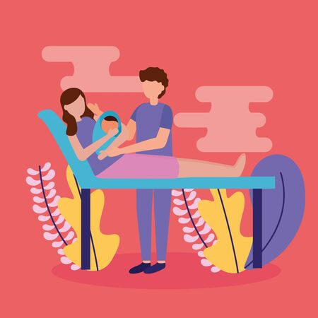 Illustration for mom and dad with baby pregnancy and maternity scene flat vector illustration - Royalty Free Image