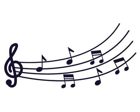 Illustration pour sound melody pentagram and musical note vector illustration - image libre de droit