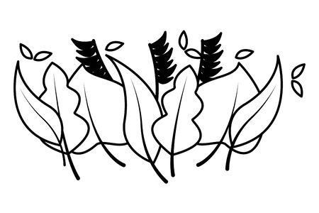 Illustration pour foliage nature border leaves white background vector illustration - image libre de droit