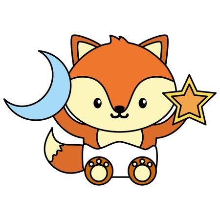 Photo pour cute little fox baby with moon and star toys vector illustration design - image libre de droit