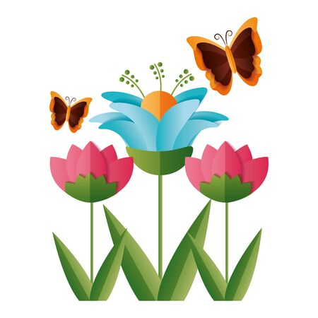 Illustration pour flower butterfly decoration ornament vector illustration design - image libre de droit