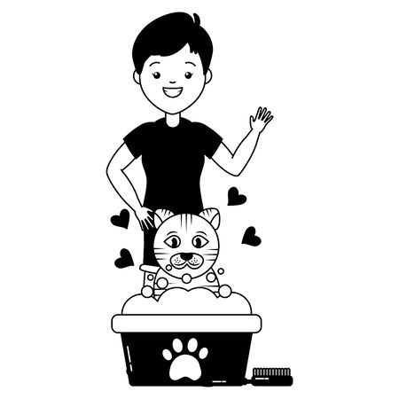Illustration pour woman cat pet grooming bucket and brush vector illustration - image libre de droit