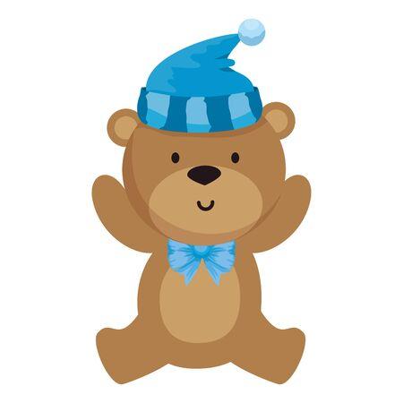 Illustration for little bear teddy with hat vector illustration design - Royalty Free Image