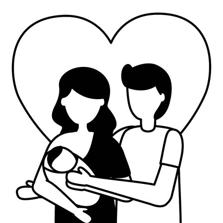 Illustration for dad and mom carrying newborn pregnancy and maternity vector illustration - Royalty Free Image