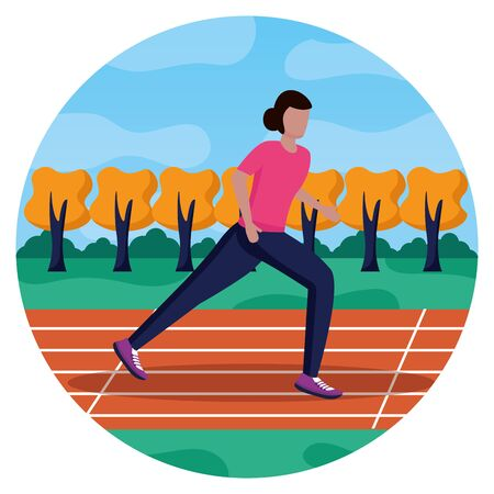 Photo for woman training running track activity vector illustration - Royalty Free Image