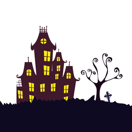 Illustration pour haunted castle halloween isolated icon vector illustration design - image libre de droit