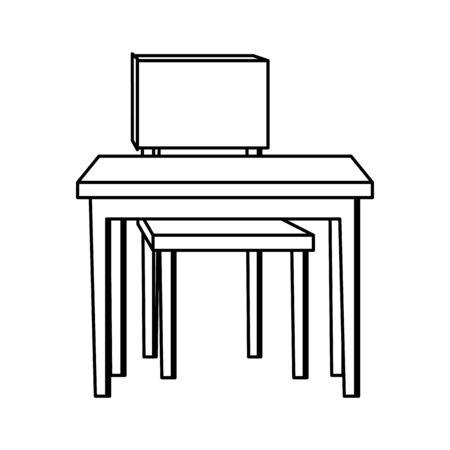 Illustration pour school desk with chair - image libre de droit