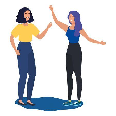 Illustration pour young girls friends celebrating characters vector illustration design - image libre de droit