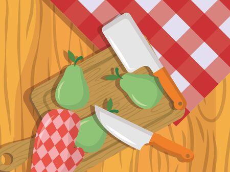 Illustration for knife pears sweet prepare fruit vector illustration - Royalty Free Image
