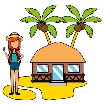 Illustration pour summer time holiday woman bungalow beach palm sand vector illustration - image libre de droit