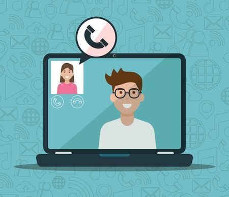 Illustration pour man and woman laptop calling video social network media vector illustration - image libre de droit
