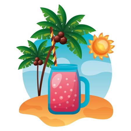 Illustration pour summer time holiday juice beach palm trees vector illustration - image libre de droit