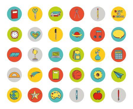Illustration pour bundle of set colorful back to school icons vector illustration design - image libre de droit