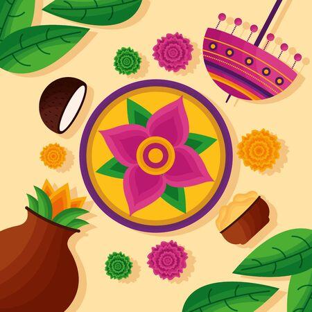 Illustration for flowers decoration celebration coconuts onam festival vector illustration - Royalty Free Image