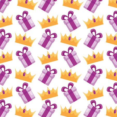Illustration pour gift box crown surprise background vector illustration - image libre de droit