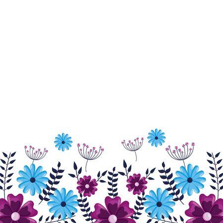 Illustration pour flowers border decoration white background vector illustration - image libre de droit